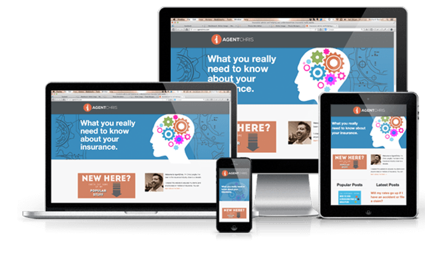 a much better responsive website design showing the desktop version, tablet version, and mobile phone version of a website